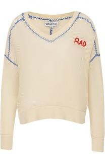 Полупрозрачный пуловер с V-образным вырезом и контрастной отделкой Wildfox