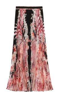 Плиссированная юбка-миди с цветочным принтом Roberto Cavalli