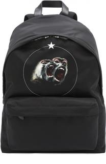 Рюкзак с принтом и внешним карманом на молнии Givenchy