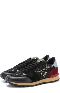 Комбинированные кроссовки Lace Sneaker с кружевной отделкой Valentino