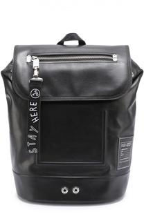 Кожаный рюкзак с внешним карманом на клапане Kenzo