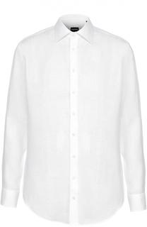 Льняная рубашка с воротником кент Giorgio Armani
