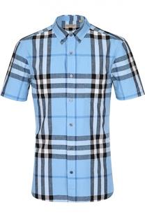Рубашка из смеси льна и хлопка с воротником button down Burberry