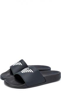 Резиновые шлепанцы с логотипом бренда Giorgio Armani