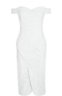 Кружевное платье-футляр на молнии сзади с открытыми плечами и асимметричным низом Nicholas