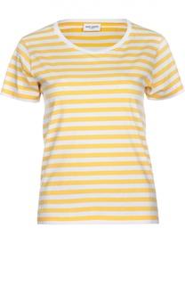 Хлопковая футболка в полоску с круглым вырезом Saint Laurent
