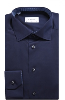 Хлопковая приталенная сорочка с воротником кент Eton