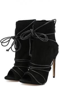 Замшевые ботильоны Liza New с декоративной шнуровкой Aleksandersiradekian