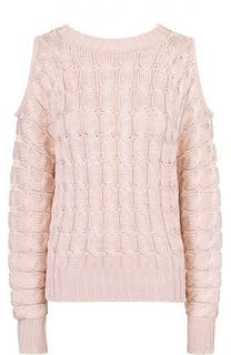 Пуловер фактурной вязки с открытыми плечами Balmain