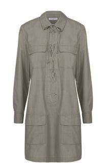 Платье-рубашка с накладными карманами и декоративной шнуровкой Equipment