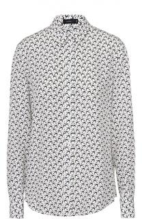 Шелковая блуза прямого кроя с контрастным принтом Joseph