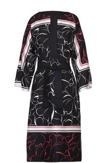 Шелковое платье с цветочным принтом и поясом Escada