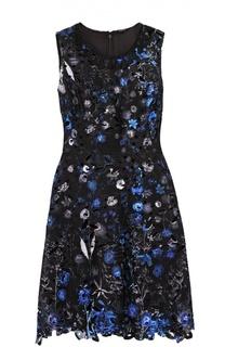 Приталенное мини-платье с контрастной цветочной отделкой Elie Tahari