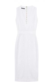 Платье-футляр с V-образным вырезом и перфорацией Balmain