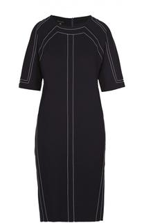 Платье-миди с укороченным рукавом и контрастной прострочкой Escada