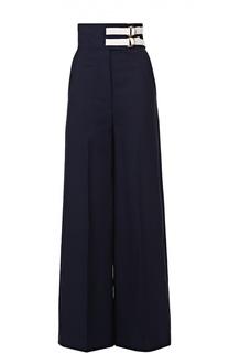 Широкие брюки с завышенной талией и контрастной отделкой Marni