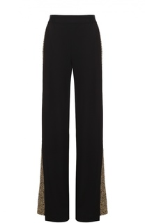 Широкие брюки с эластичным поясом и вышитыми пайетками лампасами Alice + Olivia