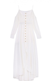 Приталенное платье-макси с открытыми плечами Balmain