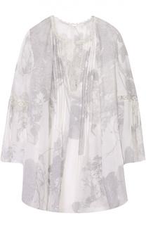 Шелковая блуза с планкой и круглым вырезом Elie Tahari