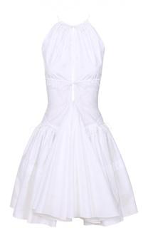 Хлопковое мини-платье с пышной юбкой и открытой спиной Alaia