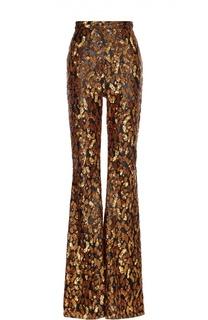 Расклешенные брюки с завышенной талией и вышивкой пайетками Balmain