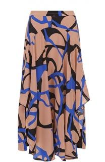 Шелковая юбка асимметричного кроя с контрастным принтом By Malene Birger