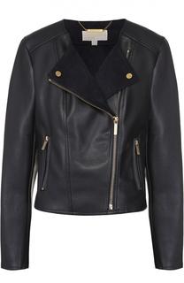 Кожаная куртка с косой молнией и круглым вырезом MICHAEL Michael Kors