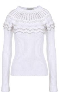 Облегающий пуловер фактурной вязки с декоративной отделкой Valentino