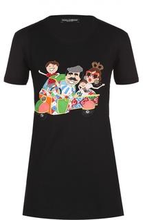 Удлиненная хлопковая футболка с контрастной вышивкой Dolce & Gabbana