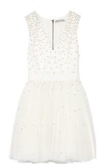 Приталенное мини-платье с широкой юбкой и жемчужной отделкой Alice + Olivia