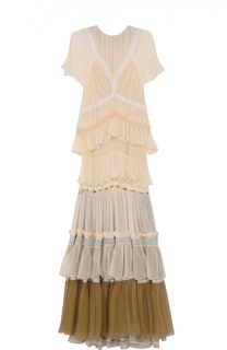 Платье-макси с оборками и круглым вырезом Chloé