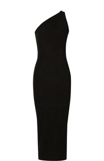 Платье-футляр с открытым плечом и декоративной молнией на спинке Balmain