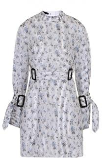 Шелковая блуза свободного кроя с поясом и цветочным принтом Calvin Klein Collection
