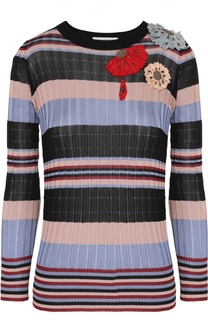 Пуловер фактурной вязки в контрастную полоску с цветочной отделкой Valentino