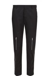 Хлопковые брюки прямого кроя с декоративными молниями Alexander McQueen