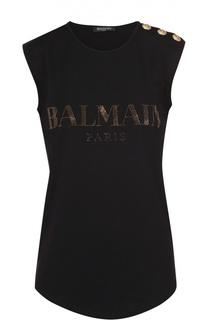 Топ без рукавов с логотипом бренда и декоративной отделкой Balmain