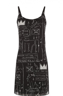 Шелковое платье на тонких бретельках и контрастным принтом Alice + Olivia