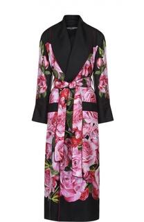 Шелковое пальто с цветочным принтом и поясом Dolce & Gabbana