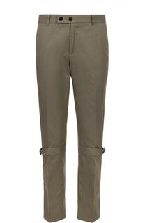 Хлопковые брюки прямого кроя с декоративными ремешками Alexander McQueen