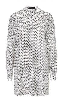 Удлиненная шелковая блуза с воротником-стойкой Joseph