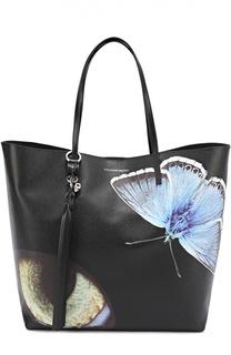 Сумка Skull Open Shopper с принтом в виде бабочек Alexander McQueen