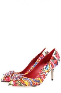 Текстильные туфли Bellucci с брошью Dolce & Gabbana