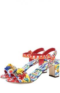 Босоножки из текстиля с аппликациями Dolce & Gabbana