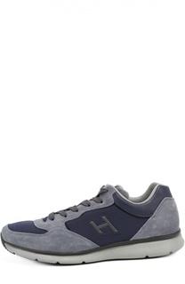 Замшевые кроссовки с текстильной отделкой Hogan