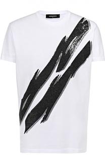 Хлопковая футболка с декоративной отделкой пайетками Dsquared2