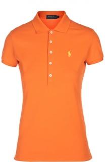Поло с вышитым логотипом бренда Polo Ralph Lauren