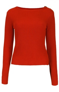 Укороченный шелковый пуловер с разрезами Ralph Lauren