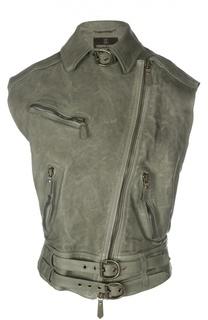 Кожаный жилет с асимметричной молнией и декоративной отделкой Roberto Cavalli