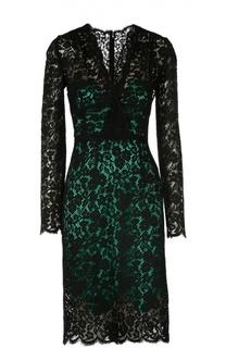 Шелковое кружевное платье с V-образным вырезом Dolce & Gabbana