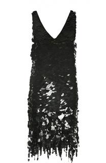 Шелковое мини-платье с пайетками и глубоким вырезом Marni